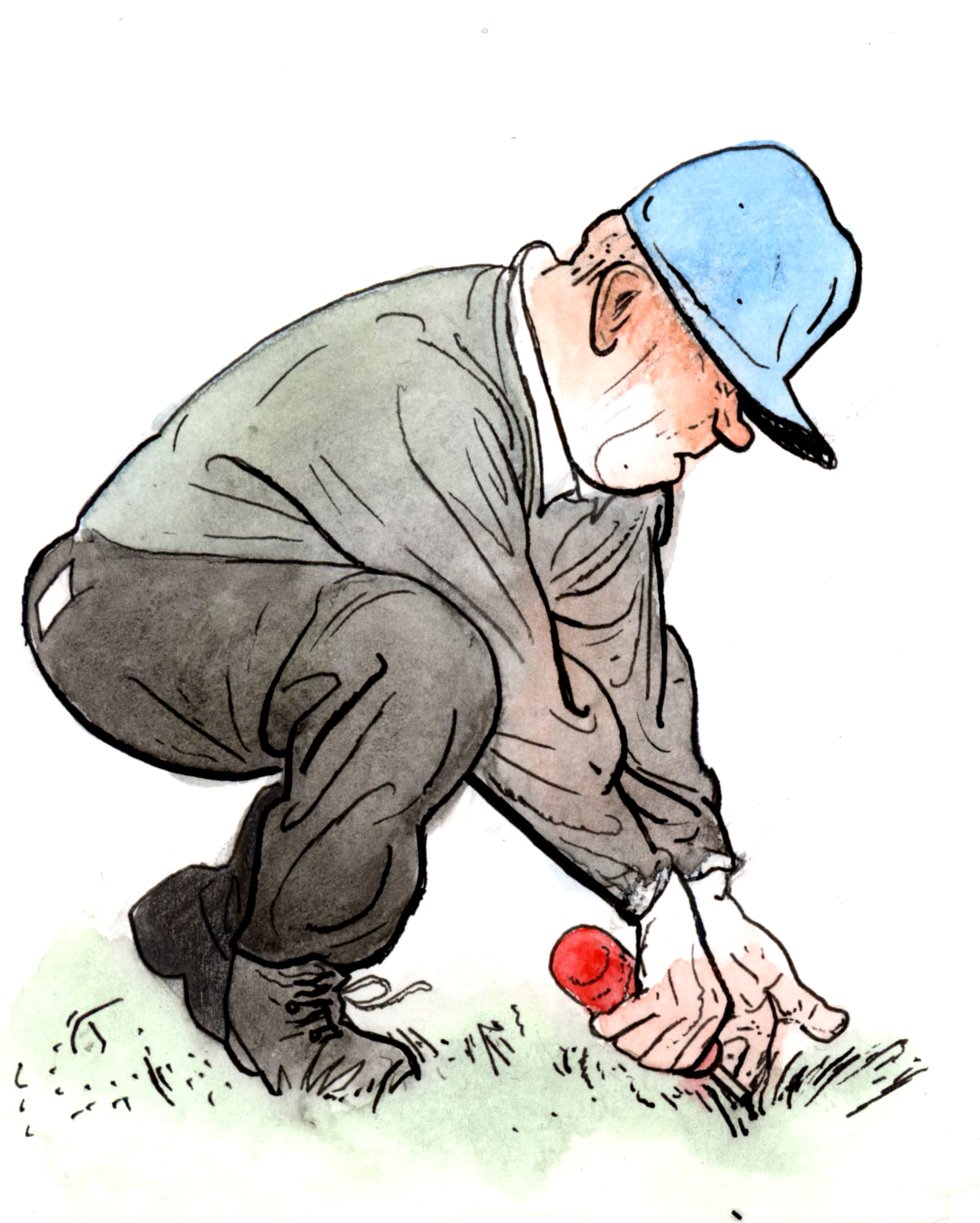 Golfer doing weeds